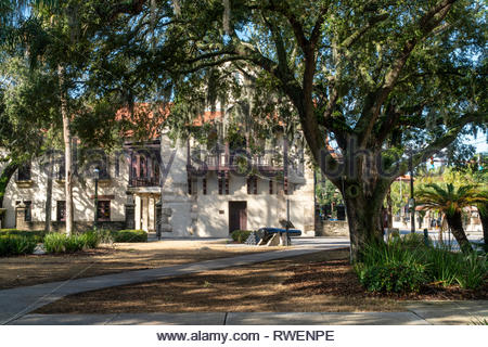 The Governor's House at the end of the Plaza de la Constitucion in the historic district of Saint Augustine, Florida USA - Stock Image