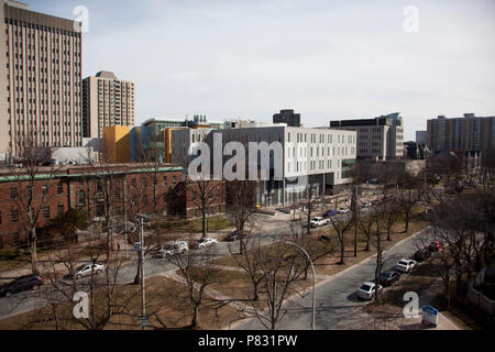 April 25, 2018- Halifax, Nova Scotia: University Avenue buildings including the Community Health building, Tupper and clinical research buildings - Stock Image