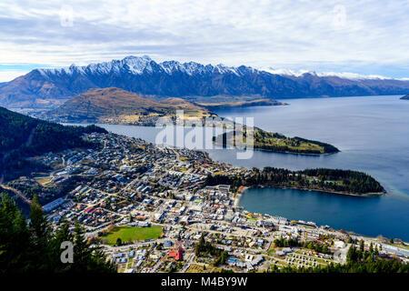 Lake Wakatipu and Queenstown - Stock Image