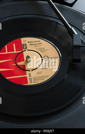 An original 1975 copy of the song Bohemian Rhapsody from the album A Night at the Opera by the band Queen written by Freddy Mercury - Stock Image
