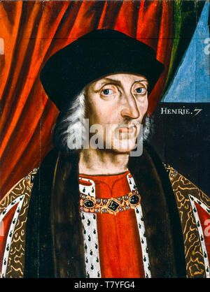 Henry VII of England, portrait painting of the British School, before 1626 - Stock Image