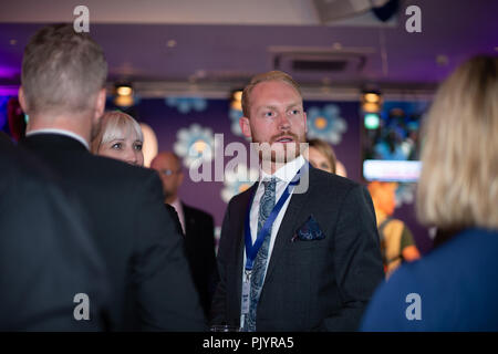 Stockholm, Sweden, September 9, 2018. Swedish General Election 2018.  Election Night Watch Party for Sweden Democrats (SD) in central Stockholm, Sweden. Aron Emilsson (SD). Credit: Barbro Bergfeldt/Alamy Live News - Stock Image