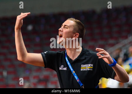 RIGA, LATVIA. 30th of June, 2019. Jesper Sundberg, assistant coach of team Sweden, during European Women Basketball Championship, commonly called EuroBasket Women 2019 , game between team Sweden and team France in Arena Riga, Riga, Latvia. Credit: Gints Ivuskans/Alamy Live News - Stock Image