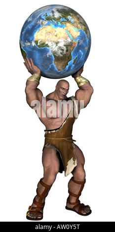 Caveman with globe - Stock Image