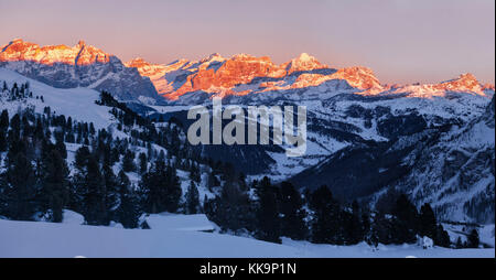 panorama of sunset over Dolomites Fanis, South Tyrol, Italy - Stock Image