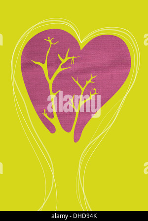 Conceptual illustration of people with a growing relationship - Stock Image