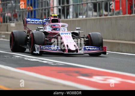 Silverstone Circuit. Northampton, UK. 13th July, 2019. FIA Formula 1 Grand Prix of Britain, Qualification Day; SportPesa Racing Point, Lance Stroll Credit: Action Plus Sports/Alamy Live News - Stock Image