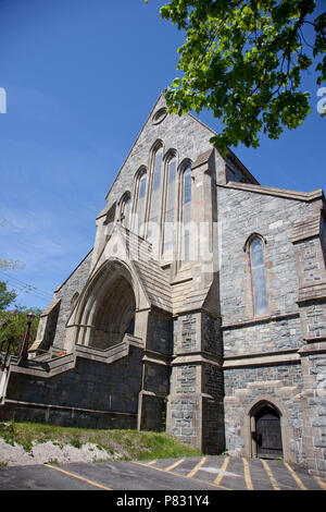 June 23, 2018- St. Johns, Newfoundland: The beautiful stone architecture of the Anglican Church on Church Hill - Stock Image