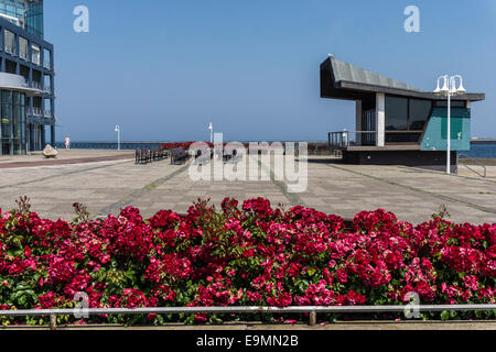 Open air tribune in front of the town of Helgoland  Germany in the harbor area in summer with red flower beds relaxed - Stock Image