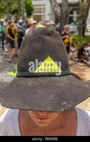 Darwin, Australia. 10th February, 2019. Anti fracking protest in front of Parliament House - Credit: Regis Martin/Alamy Live News - Stock Image