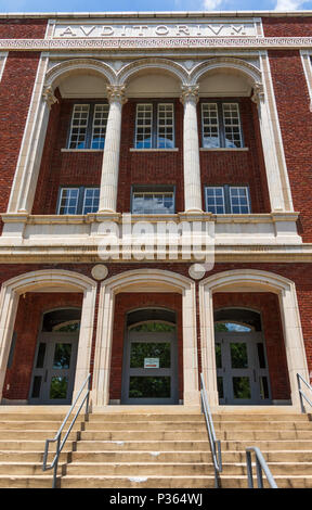 HICKORY, NC, USA-7 JUNE 18: The old Claremont Central High School building, now the Catawba country Arts & Science Center. - Stock Image