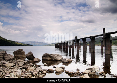jetty on a Scottish loch - Stock Image