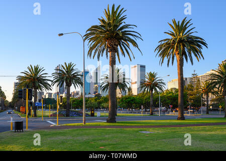 Evening view of Riverside Drive seen from Langley Park, Perth, Western Australia. - Stock Image