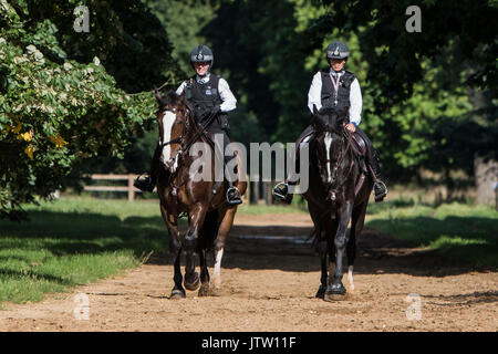 London, UK. 10th August, 2017. Mounted police patrol in Hyde Park, London, UK this afternoon as warm weather returns in the British capital. Credit: Ben Furst/Alamy Live News. - Stock Image