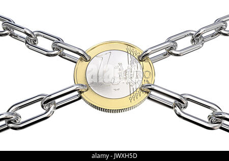 Coin with holes connected with Chain Links in 4 directions.  3d Render. - Stock Image