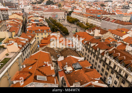 LISBON / PORTUGAL - FEBRUARY 17 2018: VIEW ON LISBON CITY FROM ABOVE. ROOFS. - Stock Image