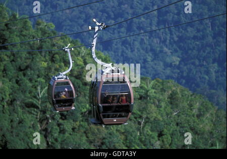 The cablecar tu the Mount Mat Chincang in the northwest of the Islandl Langkawi in Malaysia, southeastasia. - Stock Image