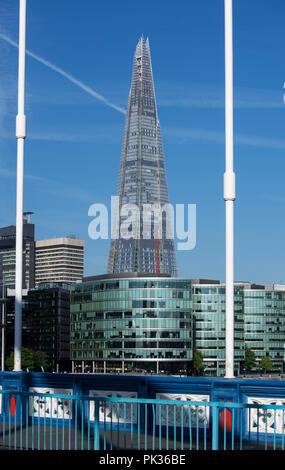 The Shard in London, England, UK, viewed from Tower Bridge - Stock Image