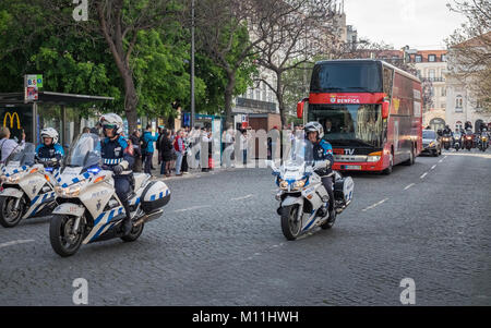 Sport Lisboa e Benfica's football team with police motorcycle escort in Lisbon city centre to celebrate their - Stock Image