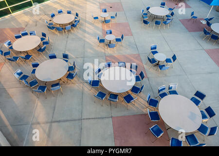 A terrace set out with tables and chairs at the rear of San Diego Conference Center, San Diego, California, USA - Stock Image