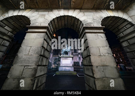 Night view of Parliament Square home of Court of Session, in Edinburgh Old Town, Scotland, UK - Stock Image