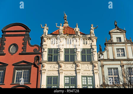 Dlugi Targ Long Market street and Golden House Gdańsk Poland - Stock Image