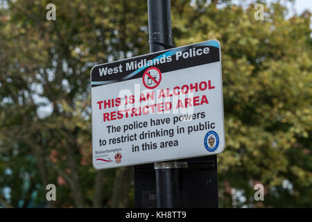 Alcohol restricted area sign in West Midlands - Stock Image