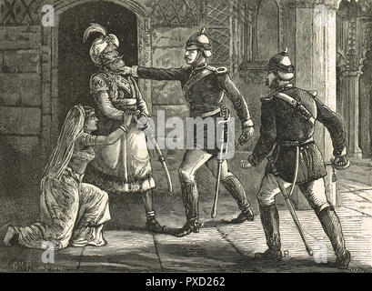 The arrest of Bahadur Shah Zafar, the King of Delhi, India, by Major William Hodson, 20 September 1857, during the Indian Rebellion of 1857 - Stock Image