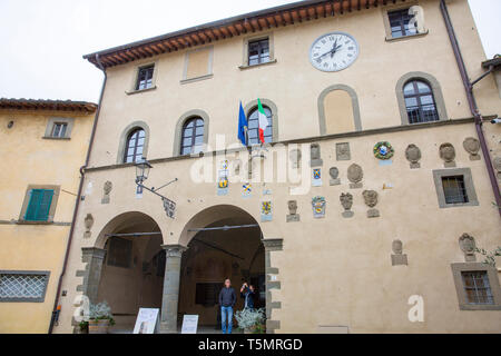 Radda in Chianti historic town in the province of Siena, and the city hall building,Tuscany,Italy - Stock Image
