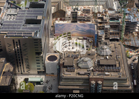 An aerial view showing Broadgate Circus in Central London and local building development - Stock Image