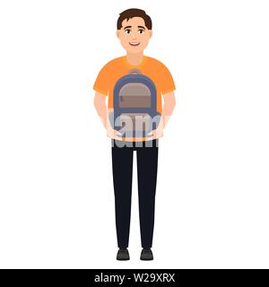 The guy holds a school backpack, schoolboy or student, cartoon character vector illustration - Stock Image