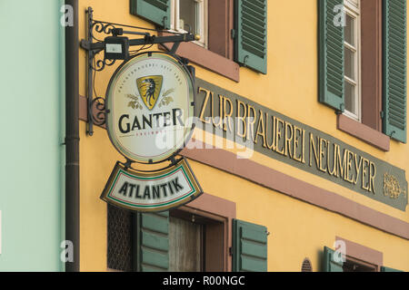 Ganter Bier beer sign hanging outside the Atlantik Bar, Freiburg im Breisgau, Germany - Stock Image