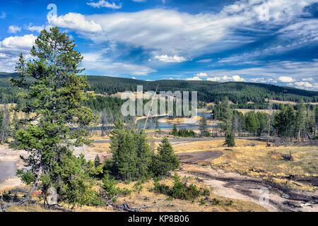 Yellowstone thermal area, Upper Geyser Basin. Wyoming, USA - Stock Image