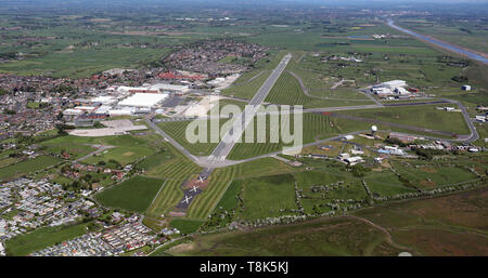 aerial view of BAE Systems Warton aerodrome near Preston, Lancashire - Stock Image