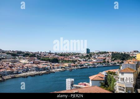 View towards Vila Nova de Gaia from Luis 1 bridge, Porto, Portugal. - Stock Image
