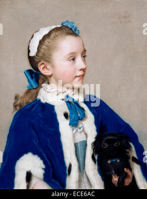 Portrait of Maria Frederike van Reede-Athlone at Seven Years of Age; Jean-Étienne Liotard, Swiss, 1702 - 1789; - Stock Image