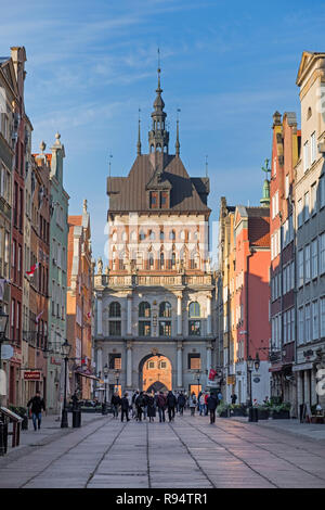 View to Golden Gate and Prison Tower Dlugi Targ Long Market street Gdańsk Poland - Stock Image