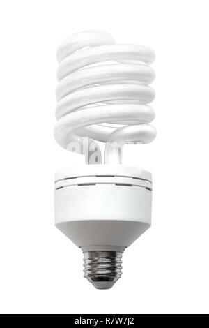 A compact fluorescent lamp (CFL), also called compact fluorescent light, energy-saving light bulb isolated on white background. - Stock Image