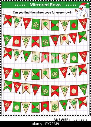 IQ training winter, Christmas or New Year themed visual logic puzzle: Find the exact mirrored copy for every row of bunting flags. Answer included. - Stock Image