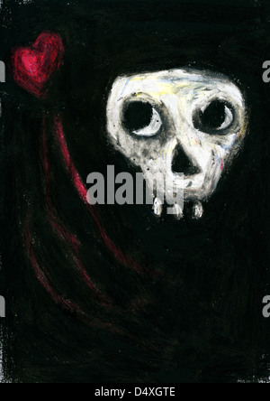 Skull looking sideways at heart - Stock Image