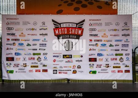 Bielsko-Biala, Poland. 12th Aug, 2017. International automotive trade fairs - MotoShow Bielsko-Biala. Motoshow billboard. Credit: Lukasz Obermann/Alamy Live News - Stock Image