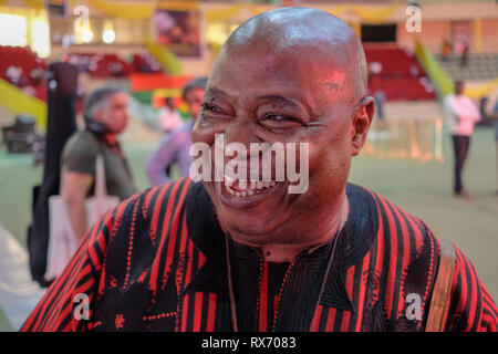 Cheick Tidiane Seck, a Malian jazz musician, smiles after a rehearsal to play a gig in Ouagadougou, Burkina Faso, in March 2019 - Stock Image