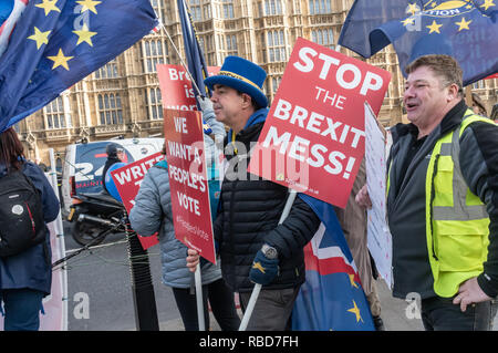 London, UK.  9th January 2019. Protests by stop Brexit group SODEM (Stand of Defiance European Movement) and pro-Brexit campaigners continue opposite Parliament. Among the pro-Brexit campaigners were again some extreme-right 'yellow jackets', most of whom were fairly subdued. One man (right) led a few others in shouting insults at SODEM protesters rather than and sensible protest, but some other Brexiteers had come to support Brexit rather than cause trouble. Police still seemed reluctant to act against possible breaches of public order when SODEM protesters were harassed. - Stock Image