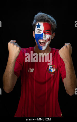 World Cup Rusia, Soccer,  Panamanian flag,  bandera de panama, rostro, 507, Panama, world cup, Rusia 2018, Panama soccer, Futbol, mundial de futbol, - Stock Image