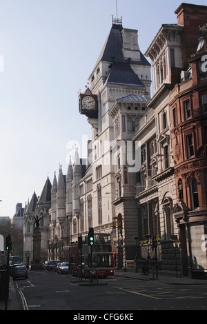 Fleet Street London Royal Courts of Justice on right - Stock Image