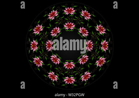 Round frame of beads and embroidered stylized flowers with red and pink petals on twisted branches with leaves on black background - Stock Image