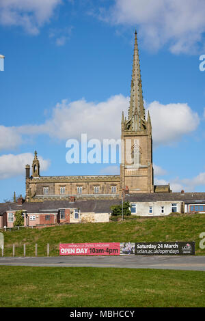 Side shot of Christ Central Preston Church seen from Adelphi Quarter in Preston, UK. Portrait orientation. - Stock Image