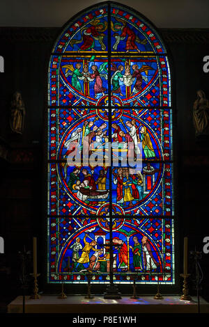 Stained Glass WIndow, Scenes from the Lives of Saint Nicasius and Saint Eutropia, circa 1205, Soissons Cathedral, Isabella Stewart Gardner Museum, Bos - Stock Image