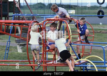 Kids metal climbing frame at a Pontins holiday camp, Pakefield, Norfolk, England, UK. Circa 1980's - Stock Image