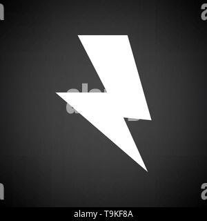 Reversed Bolt Icon. White on Black Background. Vector Illustration. - Stock Image